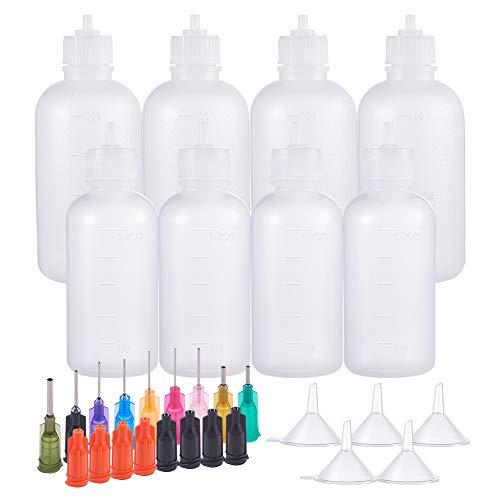 BENECREAT 8 PACK 50/100ml Mehrzweck DIY Präzisionsspitzen Applikatorflaschen Set, Ultrafeine Nadelspitzen Klebeapplikator Quetschflaschen für DIY Quilling, Hobbys mit Acrylfarben, Ölflasche