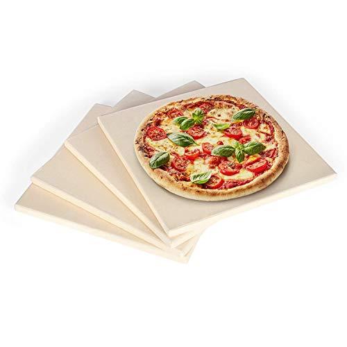 Rustler Pizzastein 4er Set, quadratisch |19 x 19cm | Pizzasteine für Pizza, Flammkuchen und Brot | Grillstein/ Backstein für Backofen, Holzkohlegrill und Gasgrill geeignet