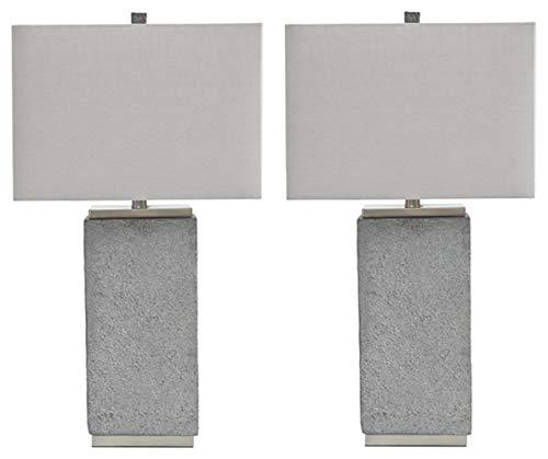 Signature Design by Ashley - Amergin Table Lamps - Set of 2 - Faux Concrete - Urban Chic - Grain