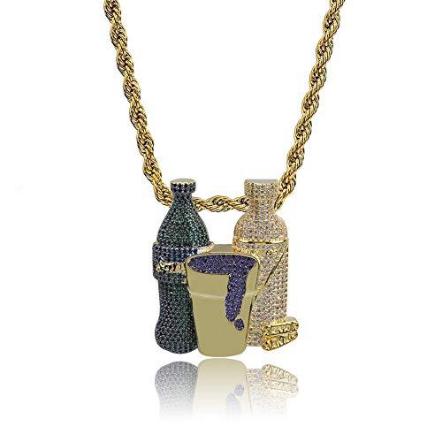 LILIMO Sprite-Flasche Lila Cup Hip Hop Combo-Anhänger Halskette Gold-Silber-Farben Kubikzircon Herrenschmuck Für Geschenk