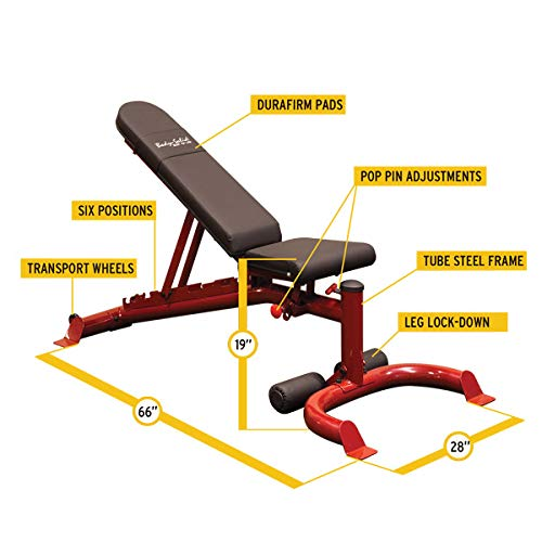 Body-Solid GFID100 Adjustable 600 lbs. Capacity Flat, Incline, and Decline Weight Bench for Strength Training, Stretching, Ab Exercises, and Dumbbell Curls