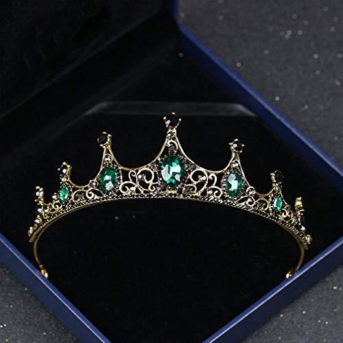 Bride Wedding Queen Crowns Bridal Hair Accessories for Women Retro Luxury Green