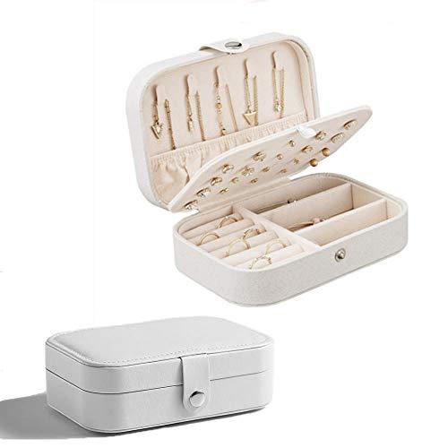 Bianco Mini Scatole Portagioie Gioielli da Ragazza Custodia Piccola da Viaggio da Donna Organizzatore daGioielleria per Anelli Orecchini Collane Bracciali, 16,5 x 11,5 x 5,5 cm