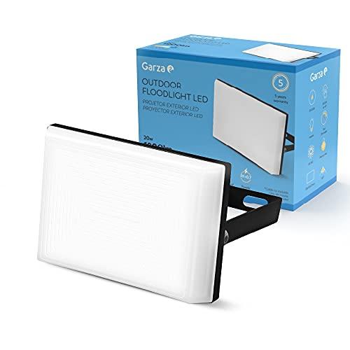 Garza Proyector LED de Exterior 10W, Luz Fría 6000K, Ideal para Patios, Jardines, Piscinas, 10 W, Blanco