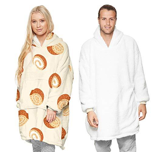 RHSML Sudadera de gran tamaño con capucha para mujer, con capucha, bolsillos térmicos en la parte delantera, suave y cálida (talla única, A6)