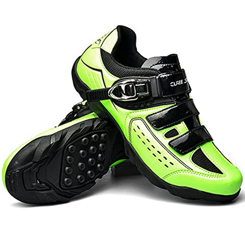 ASORT Calzado de Ciclismo de Carretera para Hombre Calzado de Ciclismo Calzado de Bicicleta de Montaña MTB - para Calzado de Bicicleta de Interior,Green-40EU