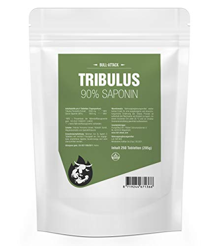 Strong TRIBULUS 90% | 250 Tablets a 2000 mg Daily Portion | Large Pack XL | Vegan | high Dosage | Saponin Content 90% | Pure Tribulus Terrestris Extract, Natural Testosterone Booster