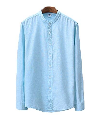 Icegrey Camicia Uomo con Collo Coreana Camicie di Lino a Maniche Lunghe Colore Solido Camicie da Spiaggia Blu 48