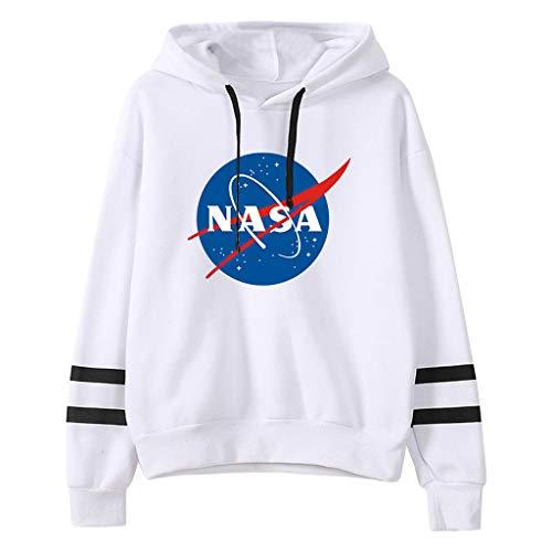 Sudadera NASA, 3D Logo de NASA Astronauta de Exploración Sudadera con Capucha Manga Larga Otoño Invierno Moda Casual NASA Hoodie Ropa Chaqueta Suéter para Hombre Mujere Niña Niño (WA,S)