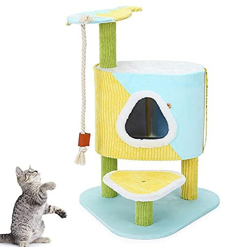 MIAOLEIE 31 Pulgadas Multi Nivel Árbol para Gato Condominio por Pequeña Gatos Gato Torre con Rascarse Junta Acolchado Felpa Perca Gatito Actividad Centrar