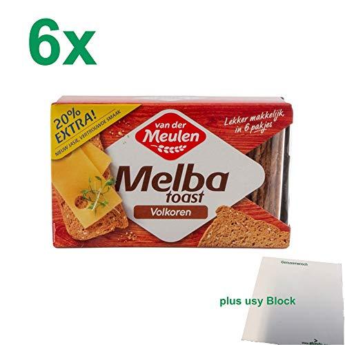 Van der Meulen original Melba Toast volkoren 6 x 120g Packung (Vollkorn) + usy Block