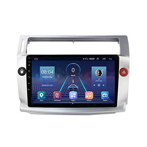 2 DIN Bluetooth Radio Coche Autoradio, con 9 Pulgadas HD Pantalla Táctil, Soporte Bluetooth Manos Libres/Mirror Link/FM/1080P Video/USB, para Citroen C4/C-Quatre 2004-2009,Quad Core,WiFi 1+16
