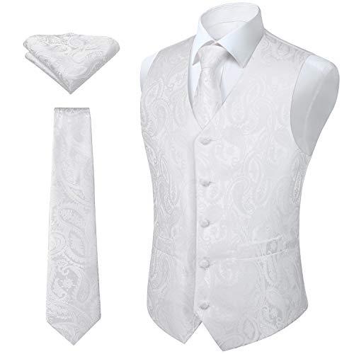 HISDERN Herren Paisley Hochzeitsfeier Weste Krawatte Tasche Quadratisches Taschentuch Jacquard Weste Anzug Set Weib