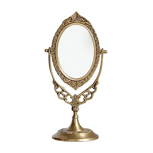 SZQJZJ Valentín Regalo Mesa Redonda Espejo, Espejo for afeitarse es Exclusivo Hotel/joyería de Tienda/Corte de Dormitorio, tallados a Mano Espejo de Bronce Antiguo, la decoración del hogar