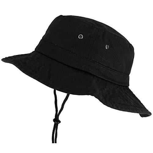 Trendy Apparel Shop XXL Oversize Large Brim 100% Cotton Outdoor Boonie Hat - Black - 2XL