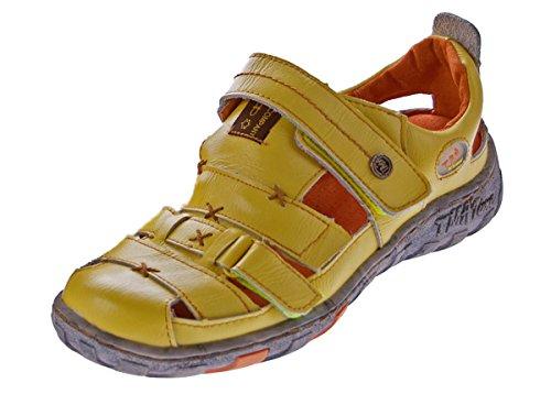 Damen Leder Sandalen Klettverschluss Halbschuhe Gelb Schuhe Sandaletten Gr. 37