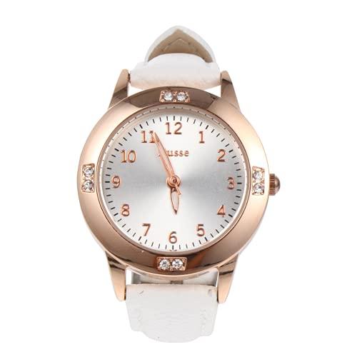 UKCOCO Reloj de Mujer- Esfera Redonda de Diamante de Agua Reloj de Mujer de Moda Casual Cómodo Y Correa de Reloj de Cuero Rosa