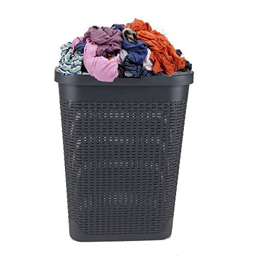 Mind Reader Basket Laundry Hamper with Cutout Handles, Washing Bin, Dirty Clothes Storage, Bathroom, Bedroom, Closet, 40 Liter, Gray