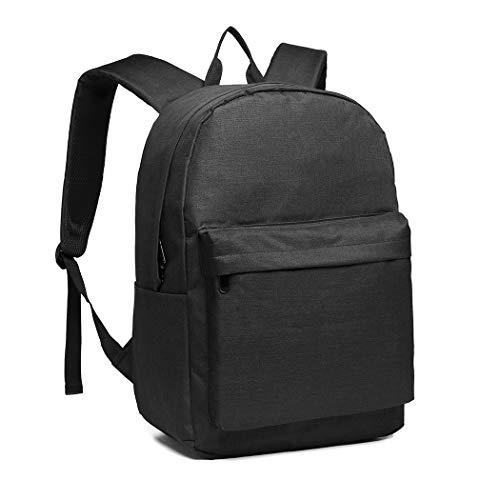 Kono Rucksack Schule Unisex Leichten Canvas Backpack für Reise Wandern,Schulrucksack mit 15.4 Zoll Laptopfach, 22 Liters (Schwarz)