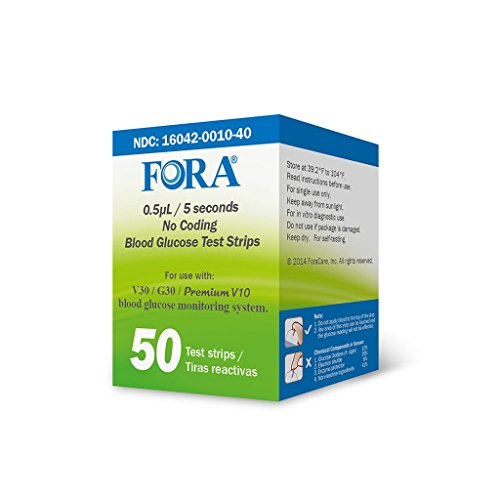 FORA V30 G30 Premium V10 Blood Glucose Test Strips - 50count, Precise Blood Sugar Measurement for Diabetes and Your Diabetic Diet