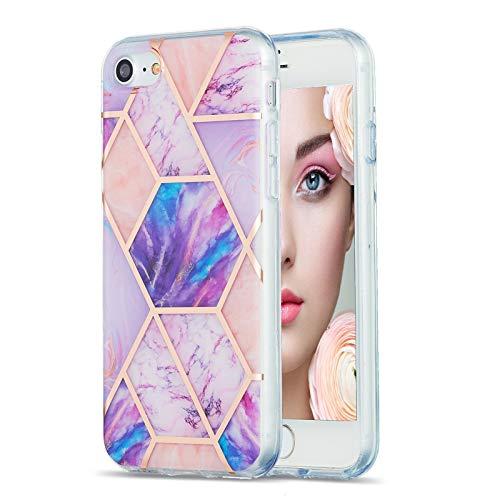 Carcasa de silicona para iPhone SE 2020/8/7, diseño de mármol IMD, flexible, color morado claro