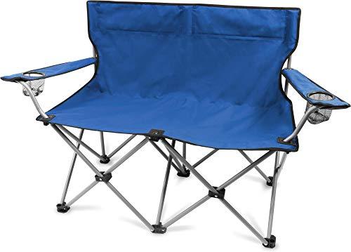 normani 2-Sitzer Campingstuhl Doppelklappstuhl Campingsofa bis 250 Kg inkl. Tragebeutel und Getränkhalter Farbe Blau