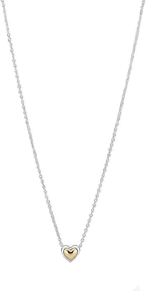 PANDORA Moments Collection - Collar de Plata de Ley y Oro de 14 Quilates, diseño de corazón