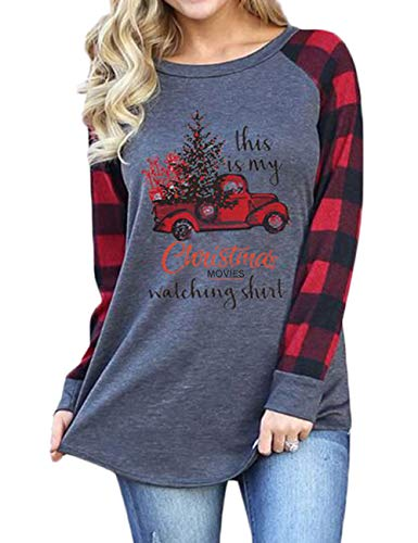 Womens This is My Christmas Movies Watching Shirt Plaid Raglan Long Sleeve T-Shirts Xmas Vacation Tee Tops Funny Tunic XXL