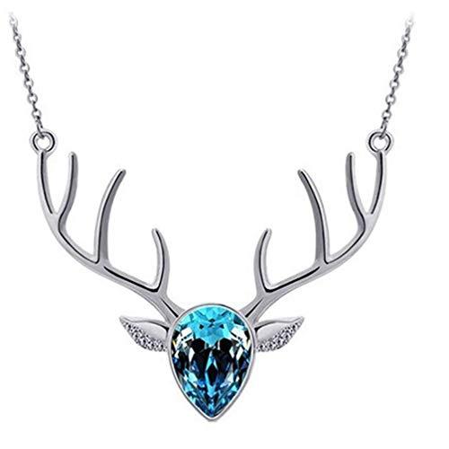 Vektenxi Crystal Deer Head Halskette Schlüsselbein Kette Pullover Anhänger Kette weiblich See blau langlebig und nützlich
