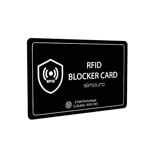 Tarjeta Bloqueo RFID - Inhibidor de Frecuencia – Incluye 2 Fundas Pasaporte RFID y NFC acreditadas por TÜV – Una Sola Tarjeta Protege Toda tu Cartera: Tarjetas de Crédito Débito DNI