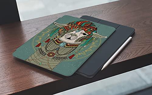 MEMETARO Funda para iPad (9,7 Pulgadas 2018/2017 Modelo), Coloridos Sombreros con Llama con Accesorios Pendientes Collar Abstracto Animal Smart Leather Stand Cover with Auto Wake/Sleep