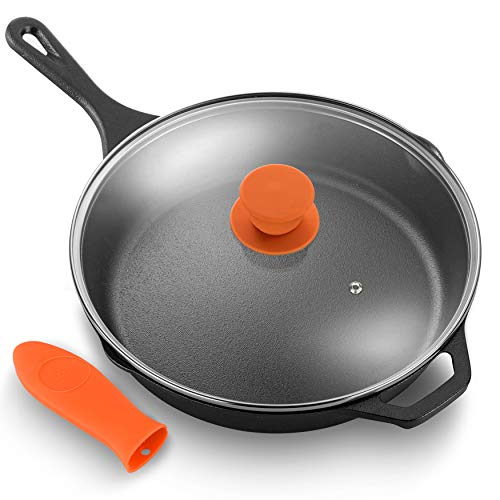 """NutriChef PFOA-Free Oven Safe Kitchen Nonstick Cookware Frying Skillet w/Glass Lid 12"""" Pre-Seasoned Cast Iron Pan, 12 inch"""