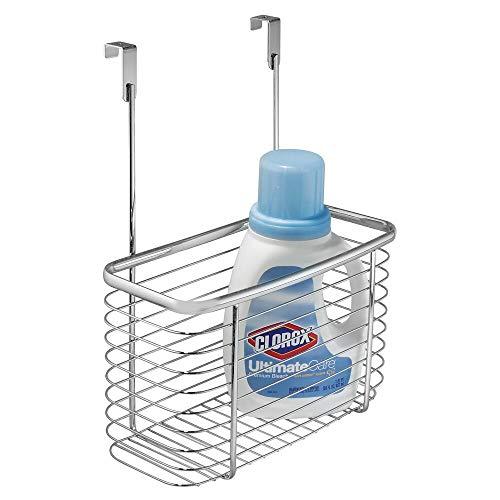 mDesign Cesta metálica para Puertas de armarios – Estante de Cocina y baño sin Taladro - Práctico Organizador de Fregadero para Estropajo, detergente, etc. - Accesorios de Cocina - Plateado