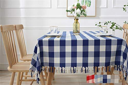 Liveinu Nappe Rectangulaire Tissu de Table Lavable Entretien Facile Résistant Imperméable Anti-tâche Nappe de Table pour Picnic Cuisine Jardin Bleu Profond 135x200cm