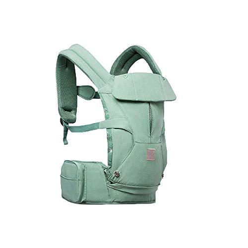XBYEBD Porte-bébé Respirant Ergonomique 3-en-1 , Bonnet Coupe-vent + Sac De Rangement + Serviette À Salive - Universel Quatre Saisons (0 À 36 Mois, 20 Kg) Vert, Rose (Couleur : Green)