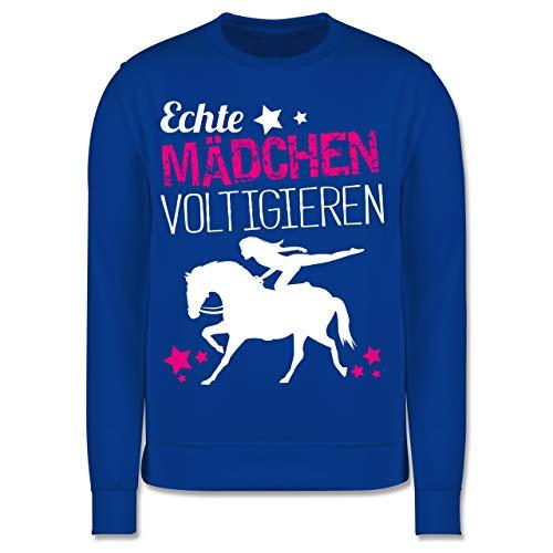 Shirtracer Pferde & Reiten Kind - Echte Mädchen voltigieren - 140 (9/11 Jahre) - Royalblau - Pullover voltigieren Kinder - JH030K - Kinder Pullover