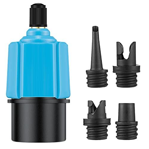 SUP Ventiladapter mit 4 Düsen, Elektrische Pumpe Kopf Stecker Luft Ventil Konverter, SUP Kompressor Adapter für Inflatable Paddle Boards, Schlauchboote Stand-up Paddle Board und Aufblasbarer Bett