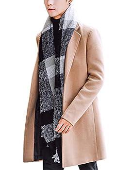 Springrain Men s Notched Lapel Single breasted Long Pea Coat Trench Coat  Khaki Large