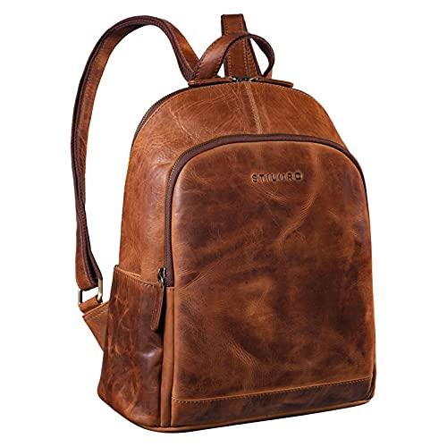 STILORD 'Porter' Vintage Daypack Leder Rucksack Retro Backpack für MacBook 13 Zoll Moderner Tagesrucksack für Büro Arbeit Reise Outdoor Rucksack Echtleder, Farbe:Kara - Cognac