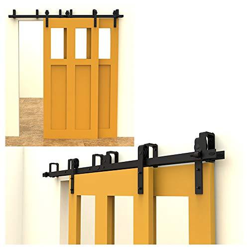 213cm(7FT) Kit de guía para puerta corredera Bypass Ferretería Polea de Rail suspendida sistema de puerta interiores en madera granero armario cuarto de, negro