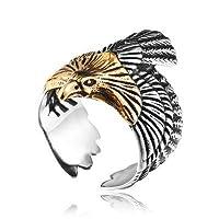 リング 指輪 メンズ ステンレス イーグルデザインリング 鷲のリング 羽 翼 ウィング 316Lサージカルステンレス シルバー 23号(UKサイズ11)