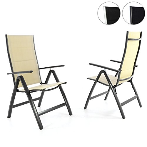 Nexos 2er Set Deluxe Klappstuhl gepolstert – Textilene Creme/Rahmen dunkelgrau - Gartenstuhl Liegestuhl – klappbarer Stuhl aus Aluminium & Kunststoff