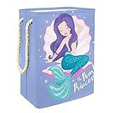 caja de almacenaje Hermosa sirena Cesta de Almacenamiento Plegable Para Guardar Juguetes Para Bebés y Niños 49x30x40.5cm