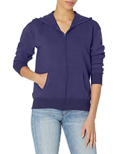 Hanes Women's EcoSmart Full-Zip Hoodie Sweatshirt, Navy, Medium