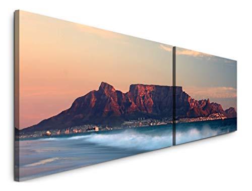 Paul Sinus Art Tafelberg Kapstadt 180x50cm - 2 Wandbilder je 50x90cm - Kunstdrucke - Wandbild - Leinwandbilder fertig auf Rahmen