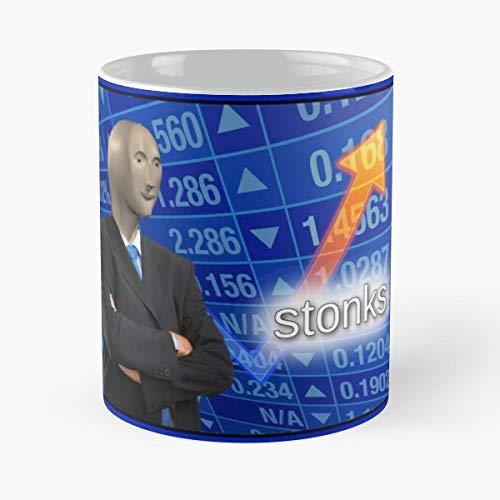 92Wear Stonks Stonk Meme Funny Haha Reddit Instagram Twitter Youtube Stock Stocks Market Best 11 oz Taza De Café - Taza De Motivos De Café