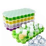 4 pezzi stampo per cubetti di ghiaccio, stampo in silicone, BPA Libero Flessibile impilabi...