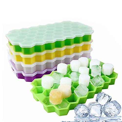 ysister 4 Pezzi Stampo per cubetti di Ghiaccio, Stampo in Silicone, BPA Libero Flessibile impilabile Facile Rilascio Vassoio per Cubetti di Ghiaccio Ice Makers per Bevande refrigerate