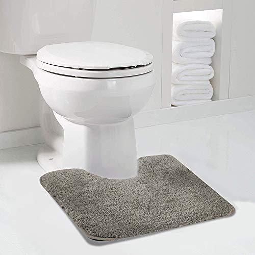 Walensee Badematte für Badezimmer, Konturenteppich, 20 x 24 cm, taupegrau, rutschfest, saugfähig, weiche Mikrofaser, zottelig, maschinenwaschbar, Badteppich für Badezimmer, U-Form, WC-Vorleger