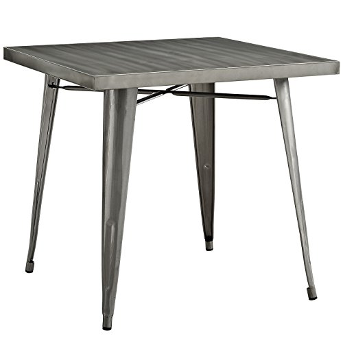 Modway Alacrity 32' Rustic Modern Farmhouse Stainless Steel Metal Square Dining Table in Gunmetal
